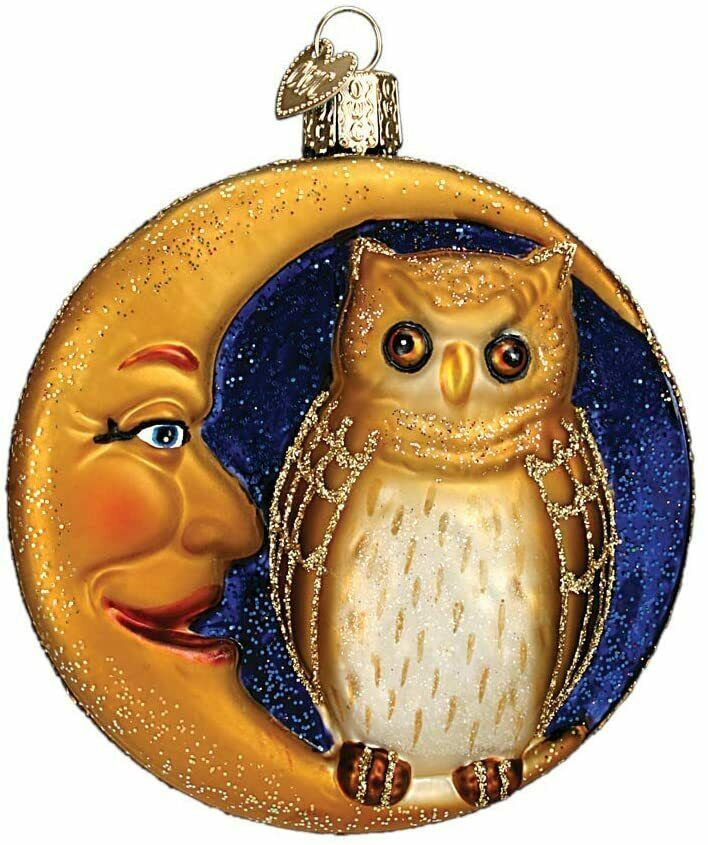 OLD WORLD CHRISTMAS OWL IN MOON BLOWN GLASS HALLOWEEN CHRISTMAS ORNAMENT 26064 - $16.88