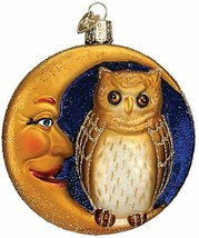 OLD WORLD CHRISTMAS OWL IN MOON BLOWN GLASS HALLOWEEN CHRISTMAS ORNAMENT... - $16.88