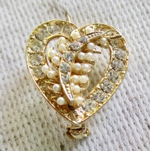 Pretty Heart Shape Pin with Rhinestones and Fau... - $10.00