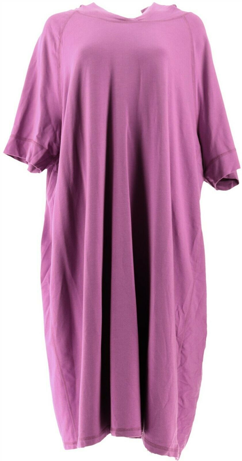 Primary image for Isaac Mizrahi SOHO Elbow Slv Sweatshirt Dress Hood Orchid Bloom 1X NEW A307994