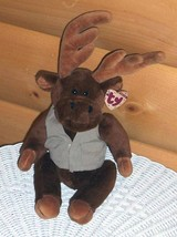Plush TY Attic Treasures MONTGOMERY Jointed Poseable Brown Moose in Vest - $6.29