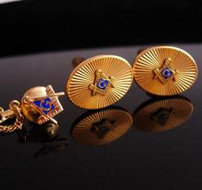 Vintage Masonic Cufflinks / Masonic tie tack / Krementz Fraternal set / compass  - $195.00