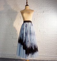 Dusty Blue Long Tulle Skirt Butterfly Dye Tulle Skirt Plus Size Party Outfit image 8