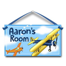 "Kids Door Sign, Airplanes, Bi-plane 5.5"" x 10.5"", Personalized Bedroom P... - $13.00"