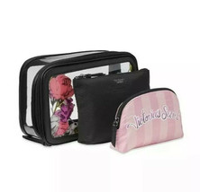 Victoria's Secret Bombshell Wild Flower Backstage  Trio  Makeup Bags 3  Set NWT - $26.18