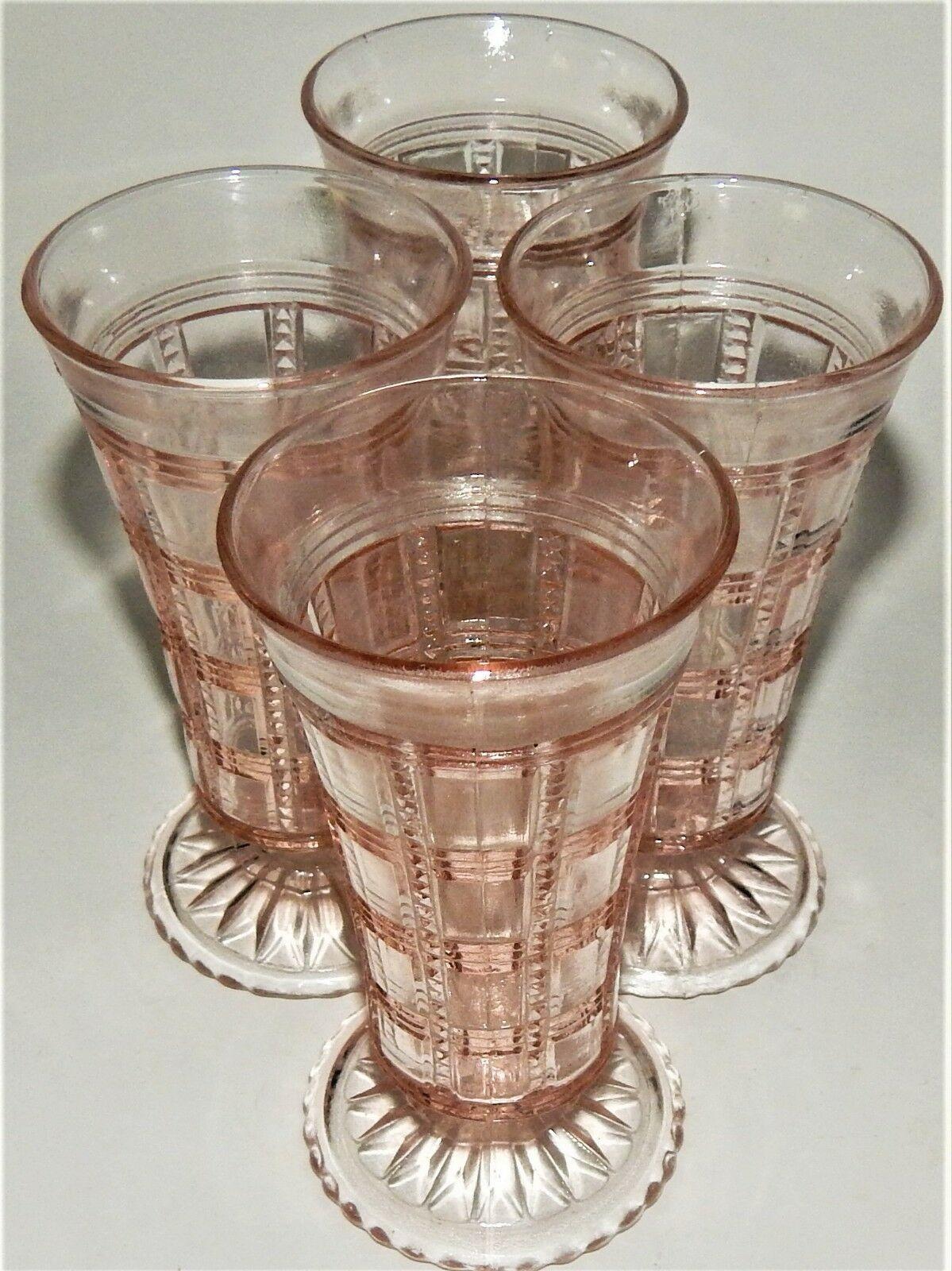 4 Imperial Pink Depression Glass Beaded Block Bud Vase Footed Jellies Vintage