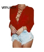 VESTLINDA Women Blouses Solid Chiffon Sexy Plunging Neck Long Sleeve Lac... - $40.00