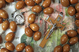Catholic Rosary VERY LARGE 14mm Brown Wood Beads Our Lady of Sorrows medal - $28.05