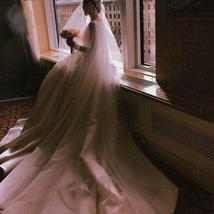 Simple Vintage White Ivory A-line Long Sleeves Royal Satin Castle Bridal Gown image 3