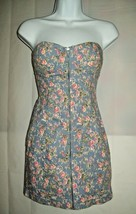 Forever 21 Women Dress S/P Pink Floral Denim Chambray Strapless Front Zi... - $25.51