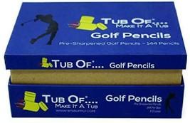 Golf Pencils, Tub Of Brand, Pre-Sharpened, Hexagonal Barrel, Yellow Fini... - $21.36