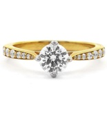 14K Solid Yellow Gold With 0.35CT Colorless Round Cut Moissanite Engagem... - $180.00