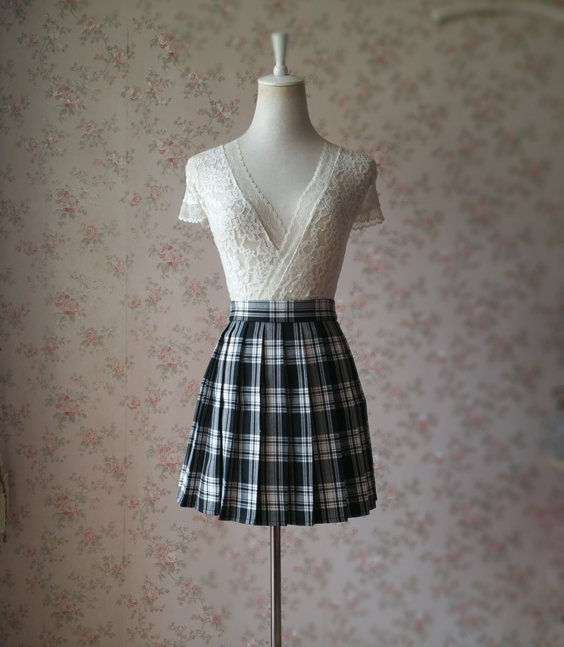 Black and White Plaid Skirt Mini Pleated Plaid Skirt Outfit A-line High Waisted