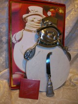 LENOX YULETIDE METAL SERVEWARE SNOWMAN CHEESEBOARD CHRISTMAS DECOR - $19.79