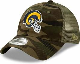 New Era Mens Camo Los Angeles Rams Tonal Trucker 9TWENTY Adjustable Snapback Hat - $27.10