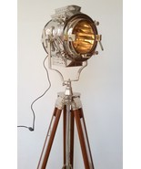 Nautical Hollywood Searchlight Floor Lamp With Wooden Tripod  - $299.00