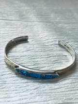 Vintage 925 Signed Silver Cuff Bracelet with Lab Created Opal Medallion  – marke - $33.51