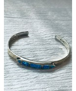 Vintage 925 Signed Silver Cuff Bracelet with Lab Created Opal Medallion ... - $33.51