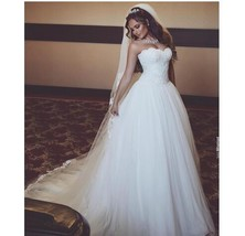 Strapless Ball Gown White Tulle Wedding Dress Lace 2018 New - $179.99