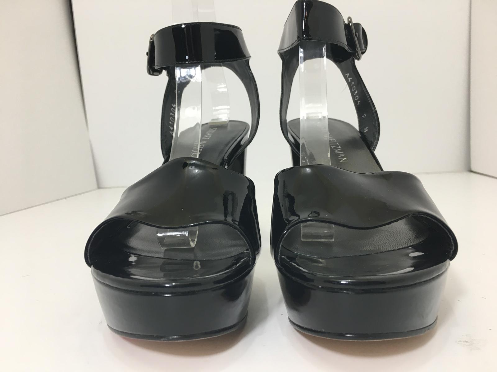 Stuart Weitzman Realdeal Black Patent Women's Platform High Heels Sandals 9 M