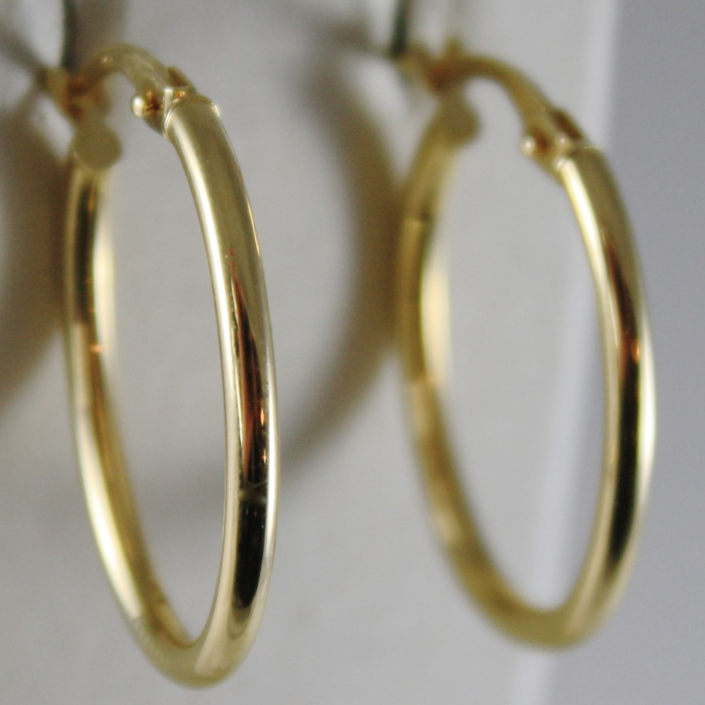 18K YELLOW GOLD EARRINGS OVAL HOOP 18 MM 0.71 INCHES DIAMETER MADE IN ITALY