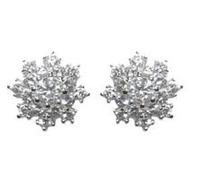 Pave Snowflake Clear Cubic Zirconia Stud Earrings 4 DAINTY-CHILDREN-BABIES 10MM - $21.78