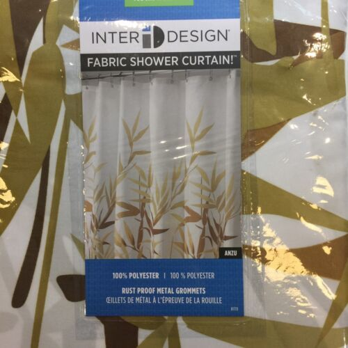 "Bamboo Zen Style Print Shower Curtain Fabric Brown & Olive Print 72""x72"""