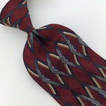 Zylos George Machado Diamond Maroon Gray Silk Men's Neck Tie H3 443 Excellent - $15.83