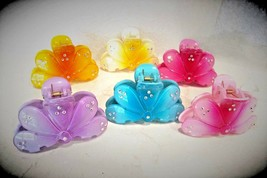 Flower hair claw clip clamp made with swarovski crystals - $7.95