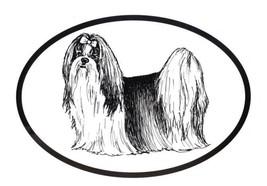 Dog Breed Oval Vinyl Car Decal Black & White Sticker  - Shih Tzu - $4.00