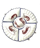 Vintage Ceramic Japan 5 Piece Divided Relish Serving Dish with Brass Tra... - $29.69