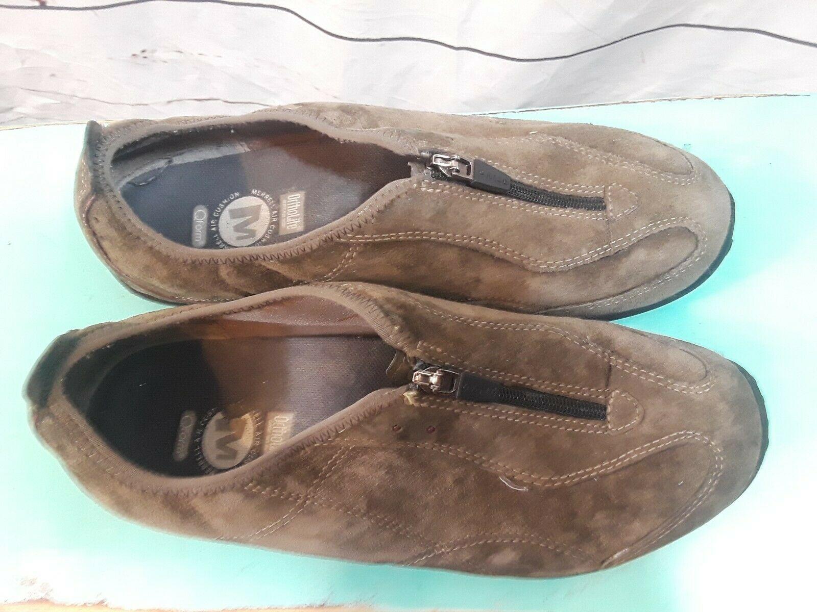 Merrell Shoes Size 8 Women Zipper Closing Brown Walking Comfort