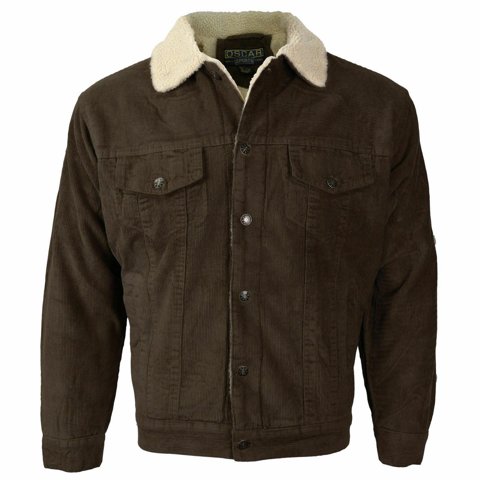 Men's Classic Button Up Fur Lined Corduroy Sherpa Brown Trucker Jacket