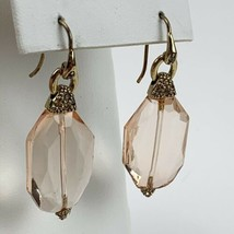 Peach Faceted Crystal Earrings Cubic Zirconia Gold Tone Dangle Statement - $13.98
