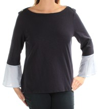 TOMMY HILFIGER Womens Navy Long Sleeve Layered Gold Button Top Size Medi... - $16.82