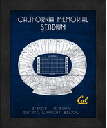 "Cal California Memorial ""Retro"" Stadium Seating Chart 13x16 Framed Print  - $39.95"