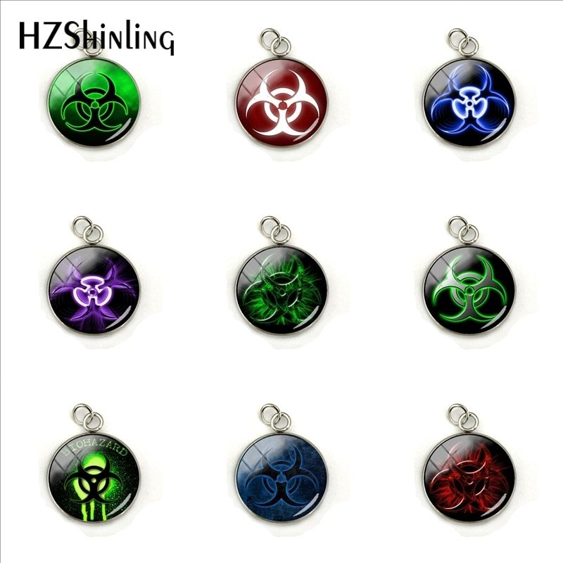 Primary image for 2019 New Biohazard Sign Symbol Glass Cabochon Round Glass Dome Charm Women Gifts