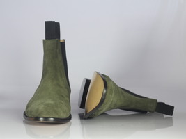 Handmade Men's Green Suede High Ankle Chelsea Boots image 2