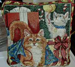 CHRISTMAS CATS Tapestry THROW PILLOW 15 x 15 VTG Burgundy - $14.99
