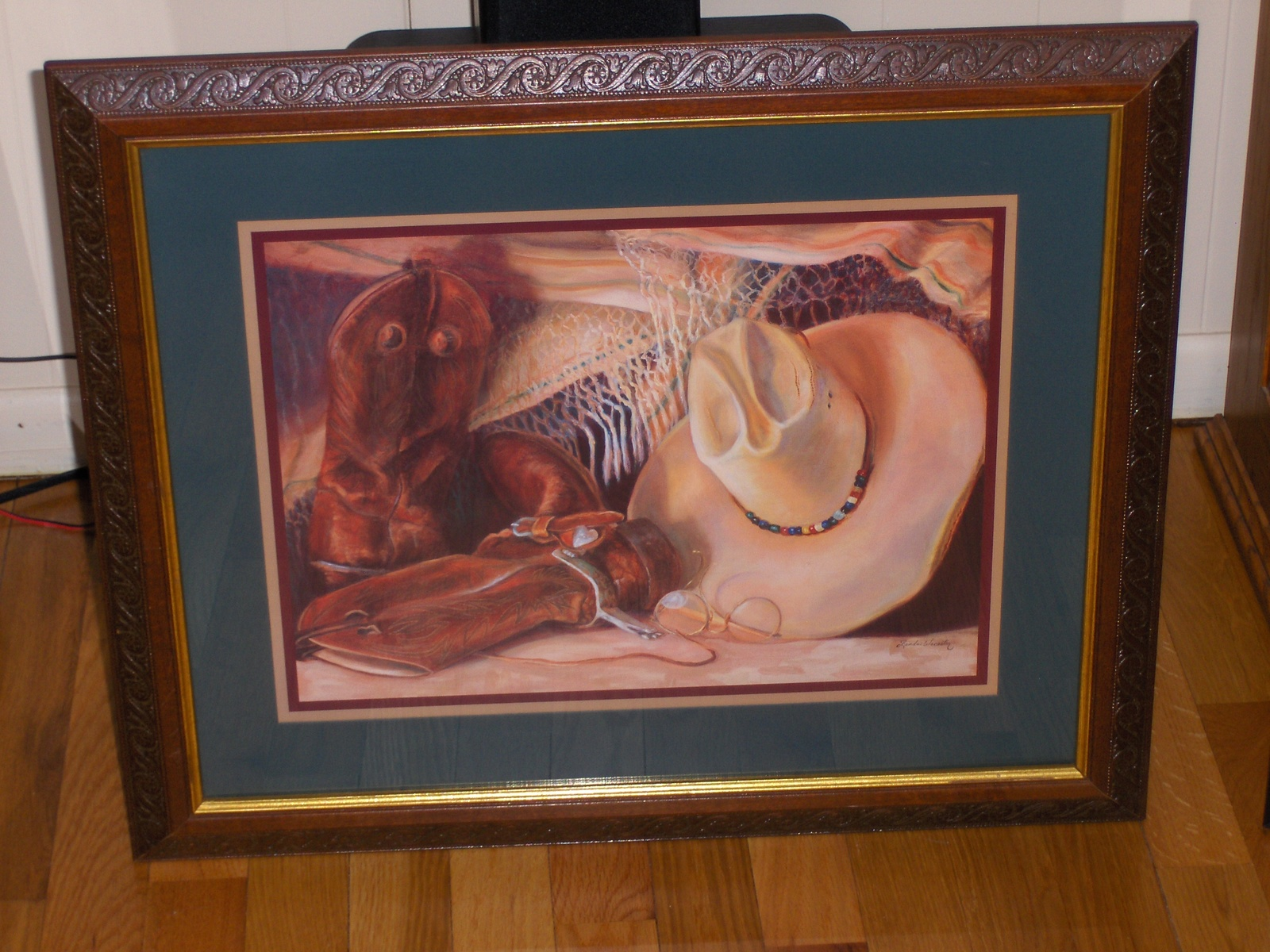 Primary image for Country Western Home Interiors Picture Boots & Cowboy Hat Homco