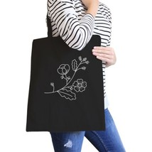 Flower Black Cotton Canvas Tote Bag Cute Gift Ideas For Friends - $15.99
