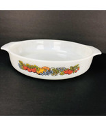 """Anchor Hocking Fire King 429 Natures Bounty Fruit 9"""" Round Cake Pan Cass... - $14.84"""
