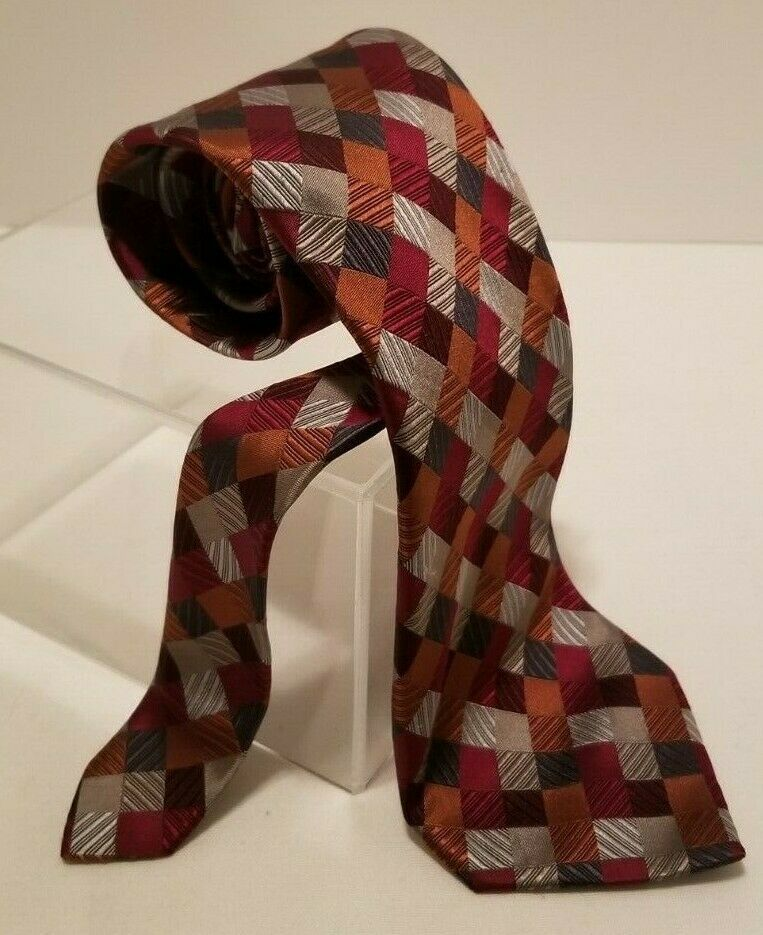 Sexy Geoffrey Beene 100% Silk Red Blue Silver Patchwork Diamonds Tie Necktie