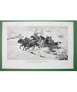 HORSE CART Villagers Winter Joy Ride in Eastern Europe - VICTORIAN Antiq... - $9.45