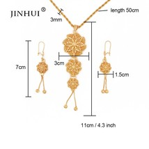 Jewelry sets 24K gold color necklace pendant earring set for women Afric... - $23.24