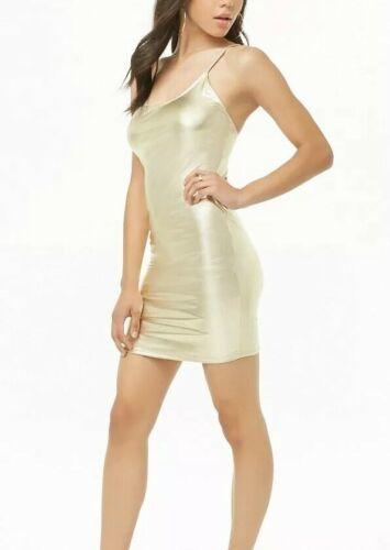 Forever 21 Shiny Liquid Gold Metallic Cami Mini Dress M NEW