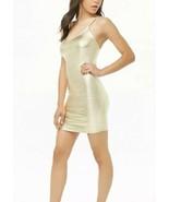 Forever 21 Shiny Liquid Gold Metallic Cami Mini Dress M NEW - $12.36