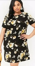 Forever 21 + Floral Print Shift Mini Tee T-Shirt Dress Black Yellow Plus... - $15.60 CAD