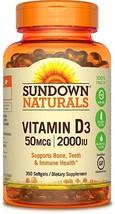 Sundown Vitamin D3 2000 IU Supplement Support Bone Teeth 350 Softgels 35... - $15.44
