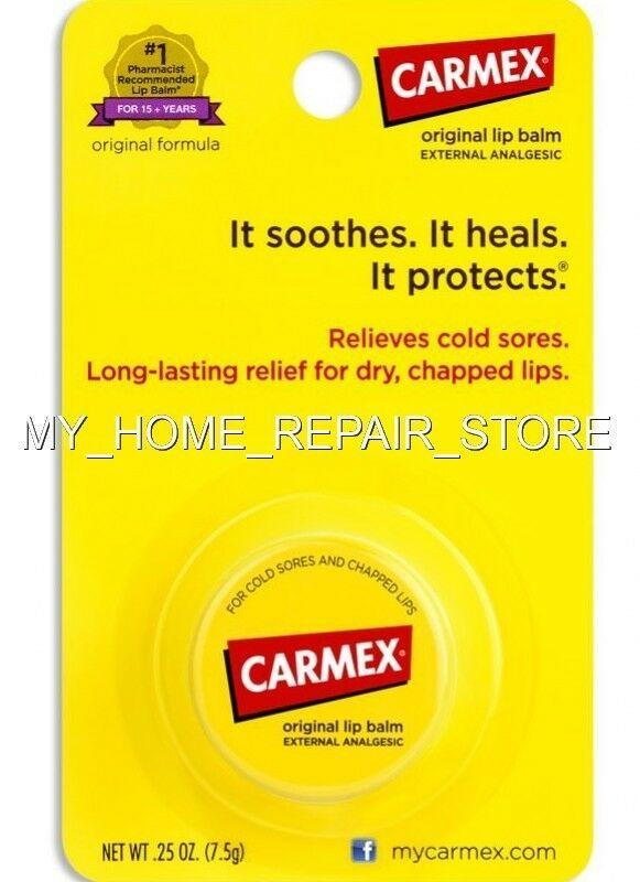 FREE S&H! RELIEVES COLD SORES ! CARMEX ORIGINAL LIP BALM EXTERNAL ANALGESIC JAR